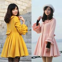free shipping Winter sweet flare sleeve princess slim thermal bow woolen outerwear woolen overcoat  woolen coat
