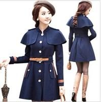 free shipping 9033 women's vintage fashion slim woolen overcoat thick outerwear cloak woolen  woolen coat