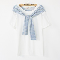 Factory price 2014 summer new Fashion women T shirt with shawl for woman Novel style shirt TS003-28