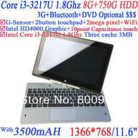 """Hot Sale 11.6"""" Win8 Laptop Computer with DirectX 11 Intel Panther Point Chipset HM76 NM70 Core i3-3217U 1.80G 8G RAM 750G HDD"""