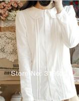 three  layers cutout lace peter pan collar white long sleeve cotton shirt blouse