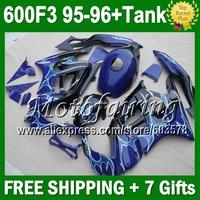 7gifts+Tank  HOT Blue flames For HONDA 95-96 CBR600F3 CBR 600F3 Blue 95 96 70JM1762 CBR600 F3 FS CBR 600 F3 1995 1996 Fairings