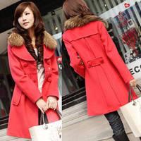 free shipping Women's medium-long plus size thickening woolen trench fur collar long-sleeve woolen outerwear 607  woolen coat