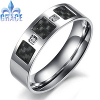 Fashion Men's Titanium Rings Center Cool Black 6mm Wide big U.S Size