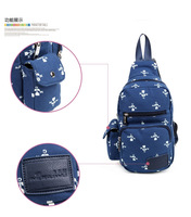 2014 New Arrival Korean Style Fashion Casual Blue Printing Canvas  One Shoulder Strap Women Schoolbag