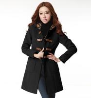free shipping 525 autumn and winter women plus size woolen overcoat woolen outerwear wool coat female  woolen coat