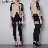 Black PU patchwork nerong jacket slim oblique zipper beige woolen outerwear elegant lady jacket free shipment