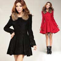 free shipping 8131 slim medium-long sheep trophonema wool coat outerwear  woolen coat