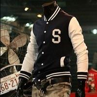 Free Shipping 2014 New Fashion Spring Influx Slim Korean fashion jacket S letter baseball shirt baseball uniform