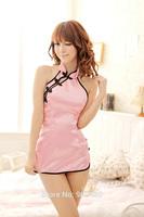 Free Shipping Women's Sexy Backless Suspender Stripe Cotton Blend  Babydoll Sleepwear NightDress with T-back