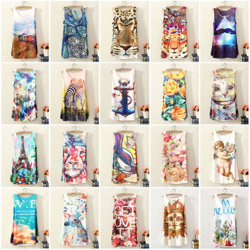2015 New Fashion Vintage Spring Summer Womens Sleeveless Graphic Printed Digital Printing T Shirt Tee Blouse Vest Tank Tops(China (Mainland))