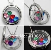 2pcs Hot  Glass Floating Charm Locket Pendants Necklaces 30mm Round memory Locket Necklace