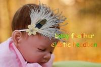 Min Order 1 pcs Baby girl Elastic headband feather headband Crown headband baby pearl flower Princess headband hair accessories