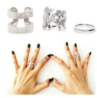 Newest 3pcs/lot Metal ring hollow out leaves Band Midi Mid Finger Knuckle Ring Set high quality   JZ-002