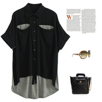 Exclusive! 2014 New Fashion Women Girl Irregular Hit Color Patchwork Loose Batwing Sleeve Shirt Plus Size T-Shirt Tops Blouse