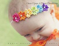 Baby Girls Ribbon Flowers Headbands Newborn Infant Hairbow Kids Elastic Hair Band Girl Headwear 10pcs/lot
