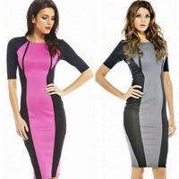 free shipping  fifth sleeve color block midguts decoration o-neck slim hip slim formal dress one-piece dress plus size