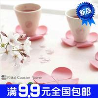 1154 three-dimensional flower anti-hot silica gel coaster coffee pad