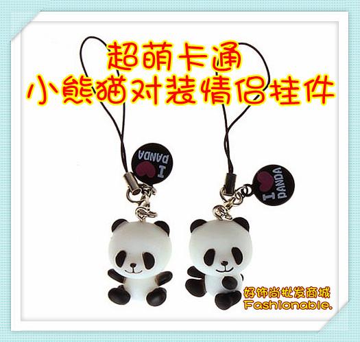 Super Meng cartoon panda lovers mobile phone pendants, dust plug phone chain, giant pandas, bag pendant(China (Mainland))