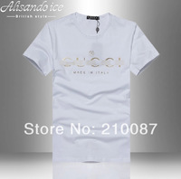 2014  the British Style new Slim-type simple letters printed  Male short-sleeved t-shirt