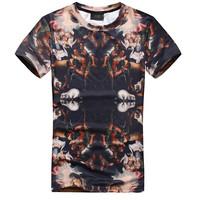 NEW summer 2014 Men fashion elegant short sleeve casual brand 3D anime pray for Paris slim fit tshirt DROP shipping BIG045