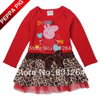 2014 New Peppa Pig Dress Long Sleeve Autumn Leopard Print Dress Princess Party Dress Tutu Dress Best Gift for Kids Free Shipping
