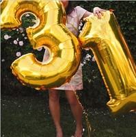 Ultralarge 40inch aluminum digital balloon 0 - 9 metallic balloon birthday decoration style