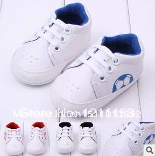 wholesale 6pairs/lot pu cover+football pattern baby boy shoes baby first walkers shoes 0013(China (Mainland))