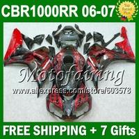 7gifts+Cowl  For HONDA CBR1000RR 06-07 CBR 1000RR Red flames CBR1000 RR 06 07 80JM1110 CBR 1000 RR black 2006 2007 ABS Fairing