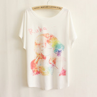 2014 new summer Causal Character Cotton Short Sleeved Plus Size colorful girl print T shirt for Women Loose Shirt TS066-21