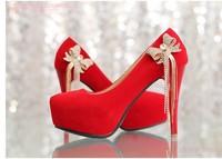 Free shipping Bow rhinestone tassel red wedding shoes women's high-heeled platform shoes  bride sexy evening dress women's shoes