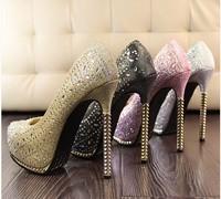Free shipping Fashion 2014 powder bling shallow mouth platform thin women's high-heeled metal  single shoes