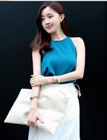 2014 new women fashion Korean ladies temperament chiffon two-piece vest + irregularly irregular bag bust