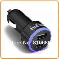 Free Shipping Black & White Universal Mini 2-Port Halo Dual USB Car Charger for iPhone 4S 5S for IPAD for Samsung Tablet 5V 2.1A