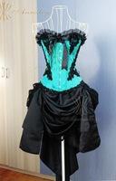 Cheap Plus Size Gothic Blue And Black Corset Dresses For Prom Party Graduation