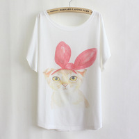 2014 new summer Causal Character Cotton Short Sleeved Plus Size cat with bow print T shirt for Women Loose Shirt TS065-21