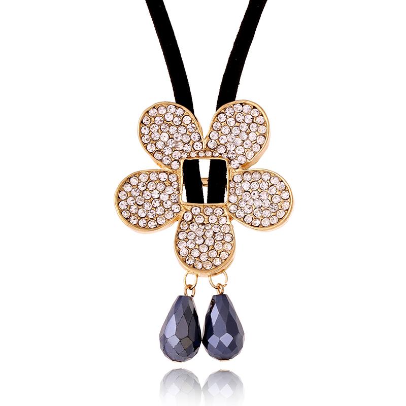 Promotion Wholesale Fashion lady women jewelry elegant honey high quality rhinestone flower long necklace SN518