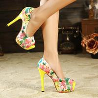 Free shipping women's  platform thin high heels single shoes 2014 autumn color block decoration fashion princess women's shoes