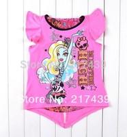 Free shipping! 2014 New Design Monster high girl girls short sleeve Pink t shirt top tees 10 pcs/lot