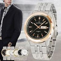 fashion Brand JONAS JASMIN Business Casual Luxury Date Day Analog Stainless Steel Quartz Mens Wrist Watch