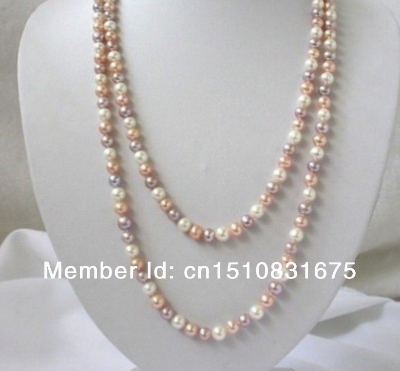 "7-8mm white pink purple freshwater pearls necklace 50""xu23(China (Mainland))"