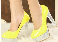 Free shipping women's High-heel shoes platform princess crystal with single shoes 2014 sexy fashion thick heel shoes
