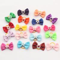 Armi store Handmade Imitation Pearls Lovely Shape Pure Ribbon 29002  Pet Dog Bow Wholesale
