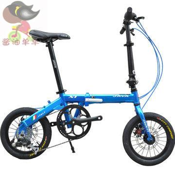 Free Shipping 2014 New Java folding bike x1-7s-d bicycle 14 mini ultra-light portable scooter bb5 disc(China (Mainland))