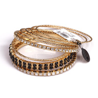 Spring New 2014 New arrival fashion luxury accessories leather black gem rhinestone bracelets & bangles female  alex and ani cc