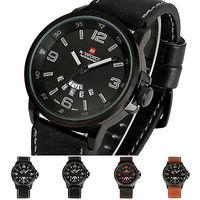 Casual Brand NAVIFORCE Vogue Army Sport Waterproof calendar Date Day Leather Quartz Analog Clock Men Wrist Watch