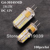 Wholeslae 100pcs G4 3014SMD 24LEDs 48LEDs 3W 5W DC 12V LED Corn Crystal Chandeliers White/Warm White By FEDEX Free Shipping