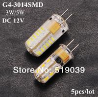 6pcs G4 3014SMD 24LEDs 3W 48LEDs 5W LED Corn Silica Gel Lamp LED Crystal Chandelier White/Warm White DC 12V Free Shipping