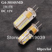 60pcs/lot 3W 5W G4 3014SMD 24LEDs 48LEDs DC 12V LED Corn Silica Gel Lamp LED Crystal Chandelier White/Warm White Free Shipping