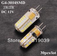 Hot sale!! 30pcs/lot G4 3014SMD 24LEDs 3W 48LEDs 5W LED Corn Silica Gel Lamp LED Crystal Chandelier DC 12V White/Warm White